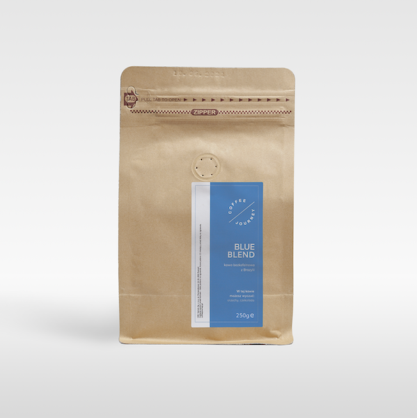 Kawa ziarnista Blue Blend 100 % arabika z Brazylii bezkofeinowa Coffee Journey