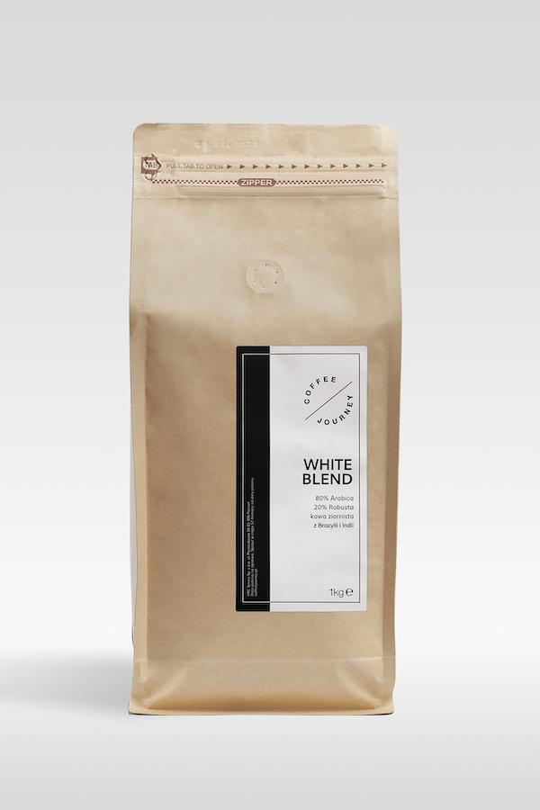 Kawa ziarnista 80 % arabika 20 % robusta z Brazylii i Indii White Blend Coffee Journey